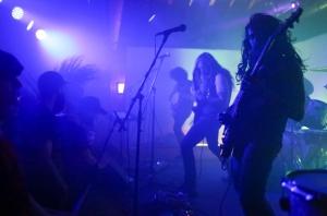 Jordan (center) and Aaron (right) playing as Metallica.