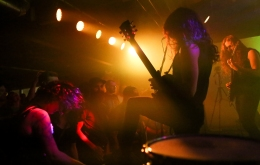 Aaron as Kirk Hammett during a recent Clash of the Titans at Empire, Black Sabbath vs. Metallica. Jordan, far right, channels James Hetfield.