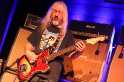 J. Mascis, of Dinosaur Jr., going zen in front of his signature stacks at Asylum.