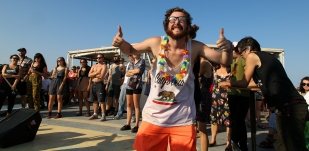 This fun guy was having more fun than just about anyone during Big Fun on a Boat -- a kickass sendoff party for Awaas on Casablanca Cruises.