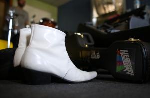 Angus' trademark boots ready for walkin.
