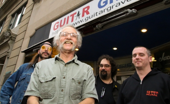 Guitar Grave owner Mike Fink with employees (from left) Angus McFarland, Mark Belanger and Sean Libby.