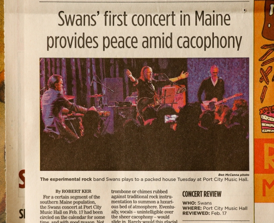 The Swans show is reviewed in today's edition of the Maine Sunday Telegram.